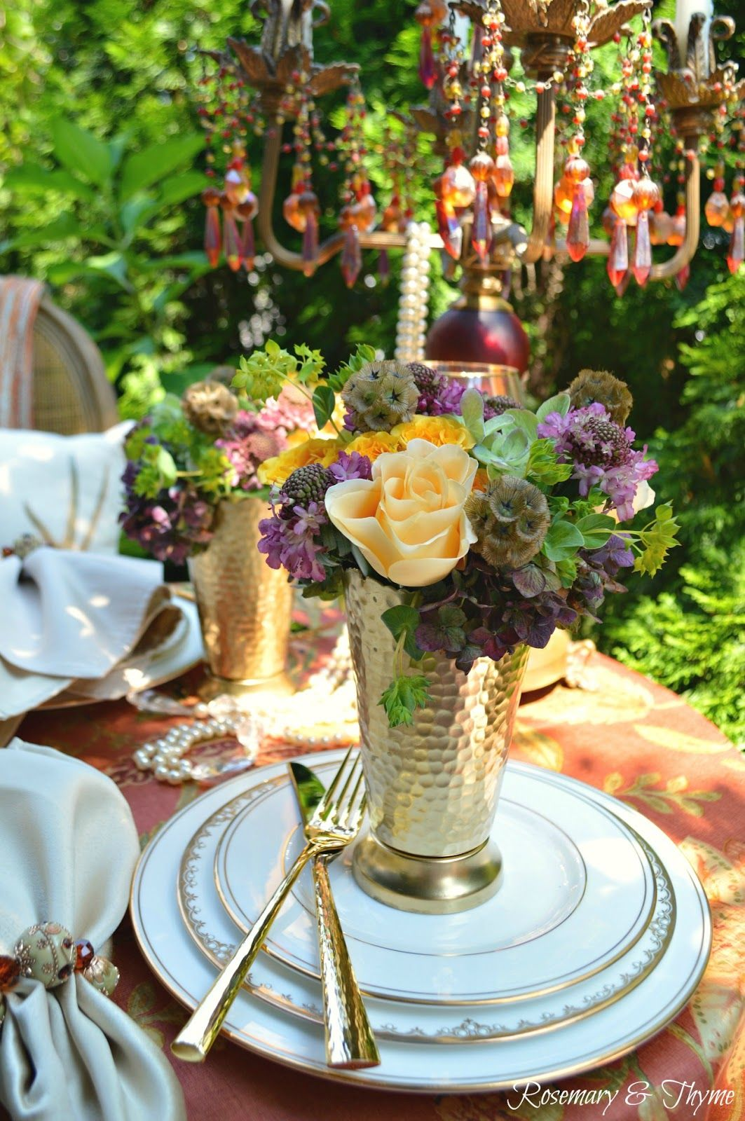 An Elegant Fall Themed Tablescape For Two | Table settings, Floral ...