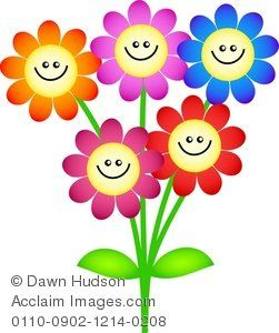 Clipart Illustration Of A Bunch Cartoon Flowers With Happy Faces