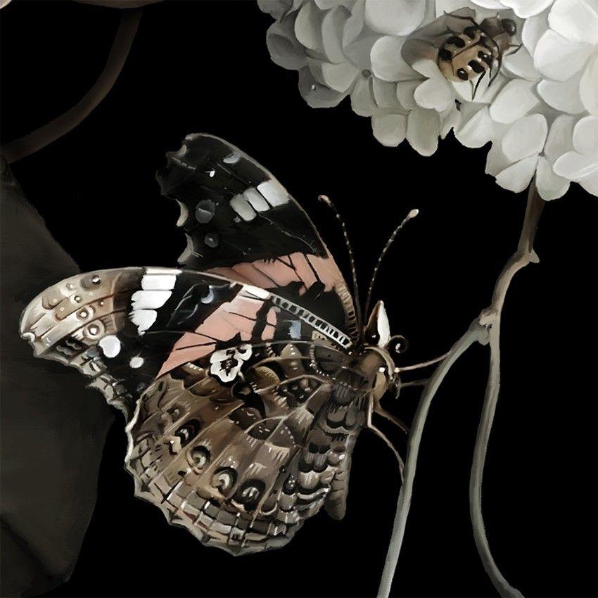 Dark Floral Ii Black Saturated Xl Wallpaper: Dark Floral II Black Saturated