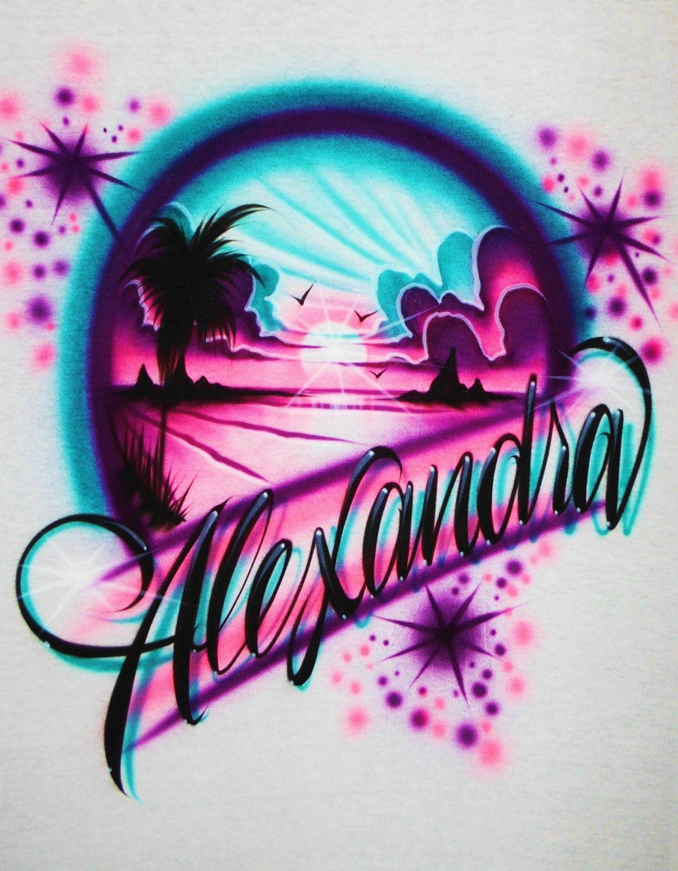 Design your own t shirt ebay - Airbrush T Shirt Beach Scene Airbrush Beach By Bizzeeairbrush