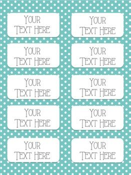 Polka Dot And Stripes Editable Labels THREE SIZES Avery - 2x4 inch label template