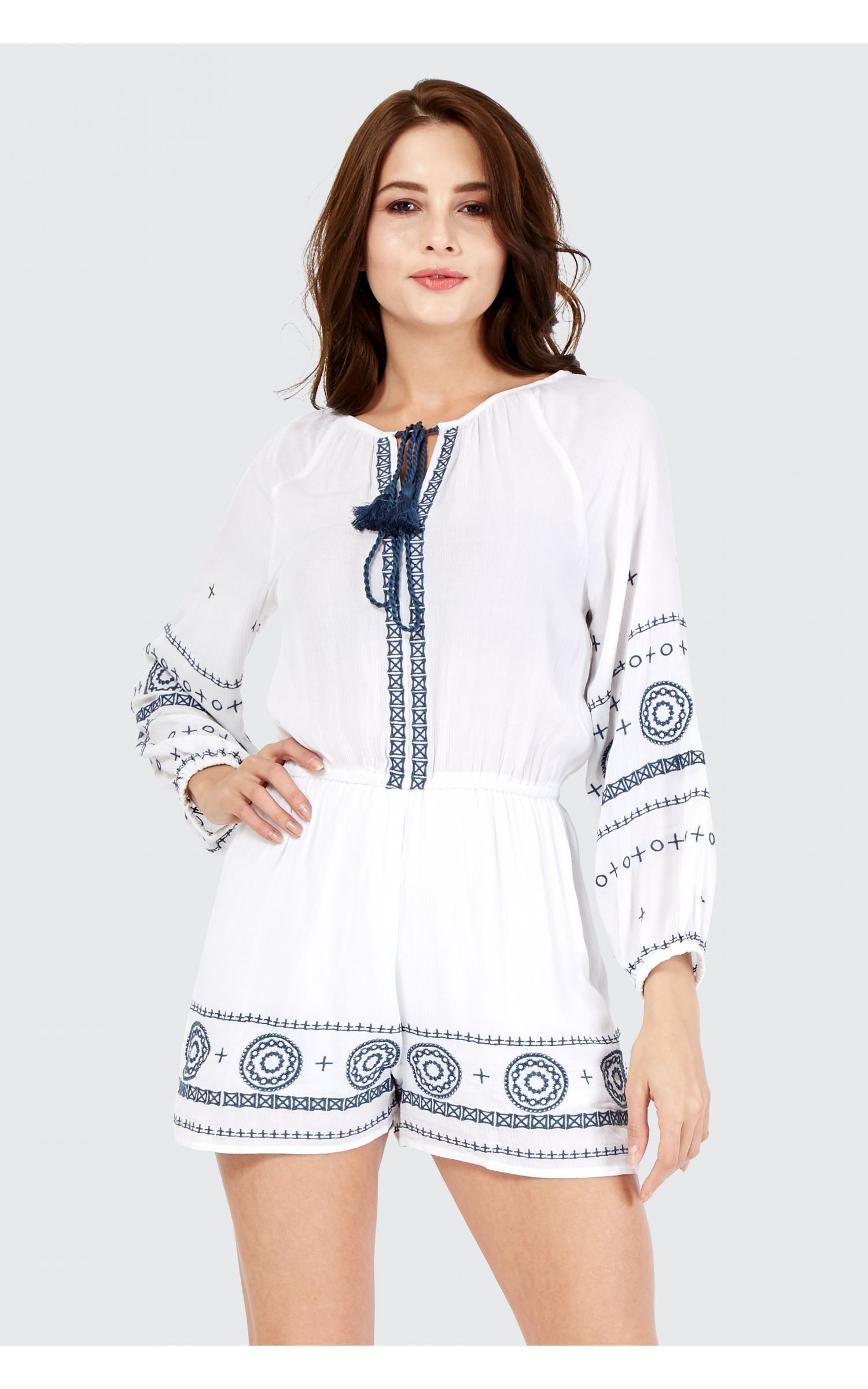 65930a175b6 Ivory X Stitch Embroidered Playsuit - Women s Playsuits