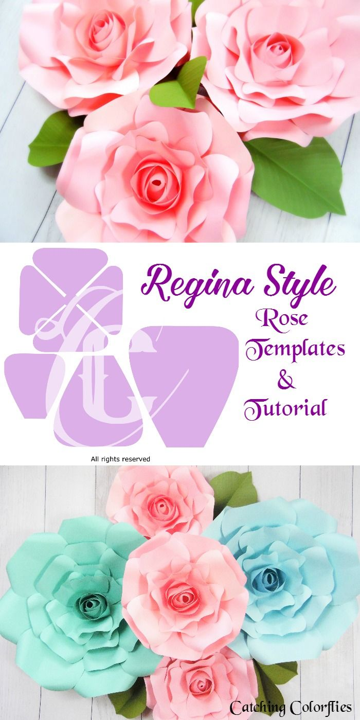 Giant Paper Rose Templates Regina Style Flowers Cricut And Craft