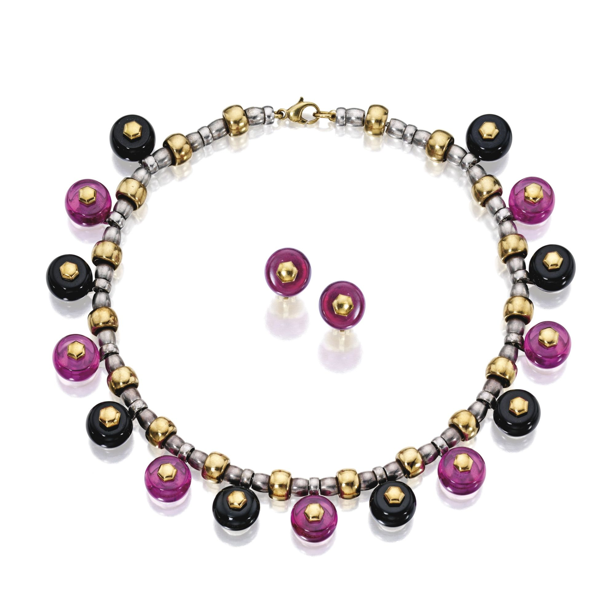 18 Karat Gold, Silver, Pink 'Russian Quartz' and Onyx 'Ciminkit' Necklace and Earclips, Marina B The two-tone necklace supporting seven colored stone beads measuring approximately 14.9 to 14.6 mm, spaced by eight onyx beads, length 16 inches, signed Marina B, numbered C2304, with partial maker's mark; the earclips of similar design, set with two colored stone beads signed Marina B., numbered C2301, with maker's mark; 1995; together with interchangeable beads in various hues.