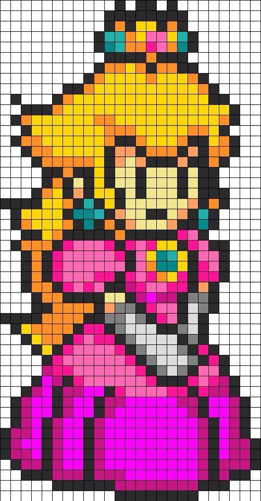 Princess Peach Perler Bead Mario Perler Bead Art Pixel Art