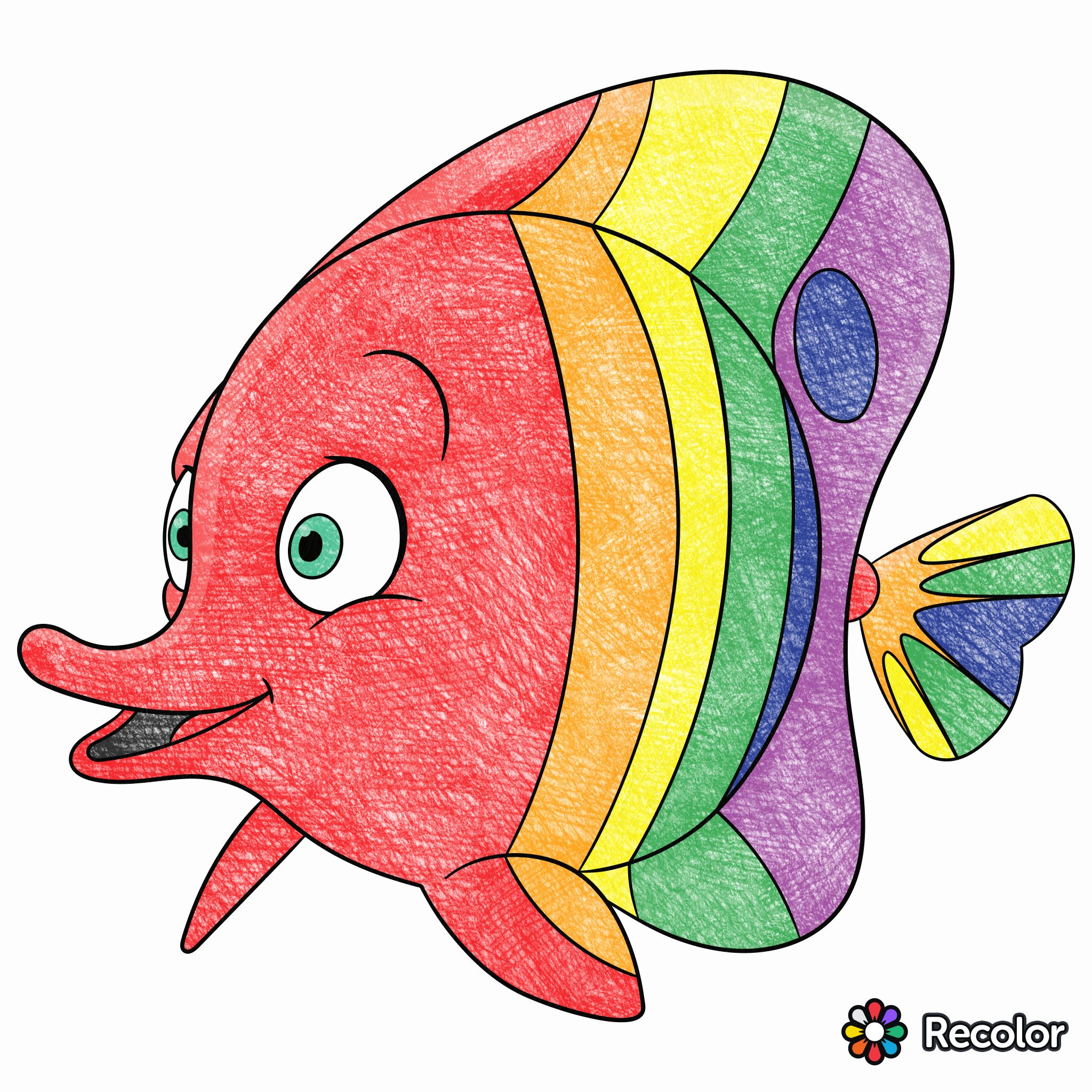 My rainbow fish on Recolor! | Drawings in Recolor | Pinterest ...