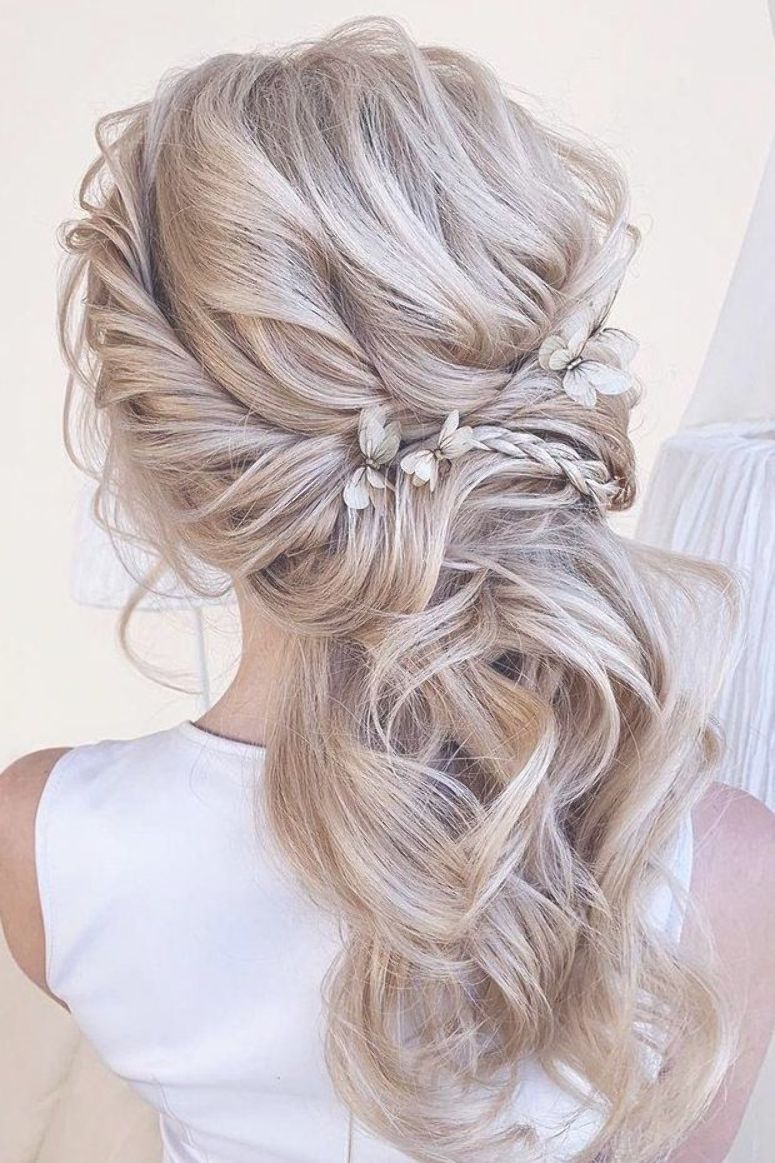 wedding hairstyles 2019 swept half up half down with ...