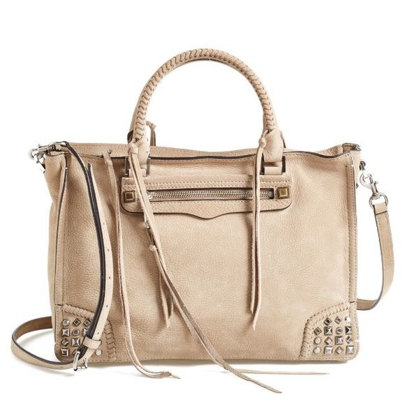"""Rebecca Minkoff Studded Regan Satchel Purchased from Nordstrom and I literally only carried it for a couple of weeks. I treated the suede to protect from water. It's really just bigger than I am used to and I want to sell it to get a smaller bag. The size is 13"""" wide by 9"""" high. Retails for $345 before tax.  It's sold out on the Nordstrom website right now.  The color is called Sandstone and is sort of a grey beige. The last pic is my bag. Also has the cross body strap.  $295 on ♍️ercari…"""