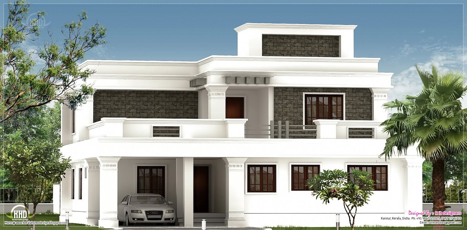 Flat roof homes designs flat roof villa exterior in 2400 for Indian home exterior design photos middle class