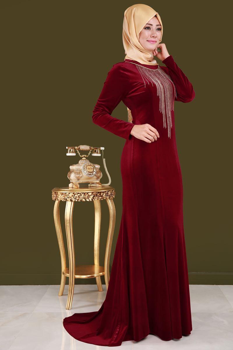4a3da05f94f9c Kolyeli Kadife Balık Abiye Elbise Bordo Ürün kodu: YGS5099 --> 129.90 TL