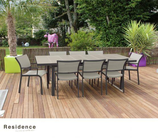 Salon de jardin. Ensemble TASMANIE anthracite taupe : 1 table, 6 ...