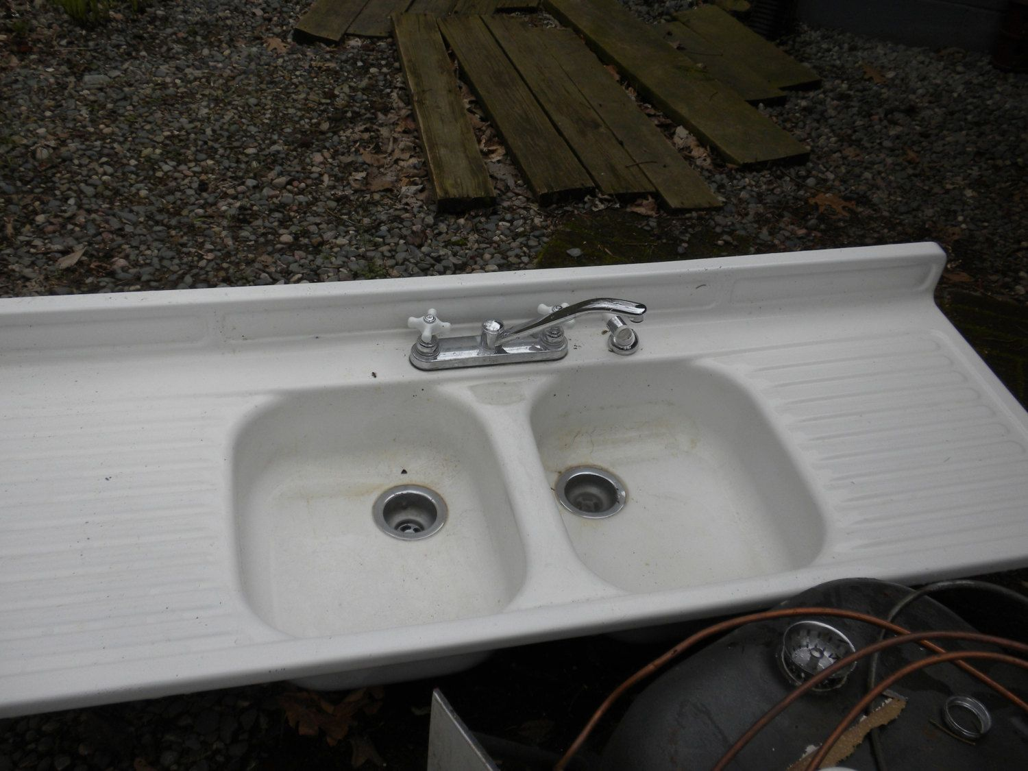 old kitchen sink with drainboard wall shelf vintage youngstown double bowl via
