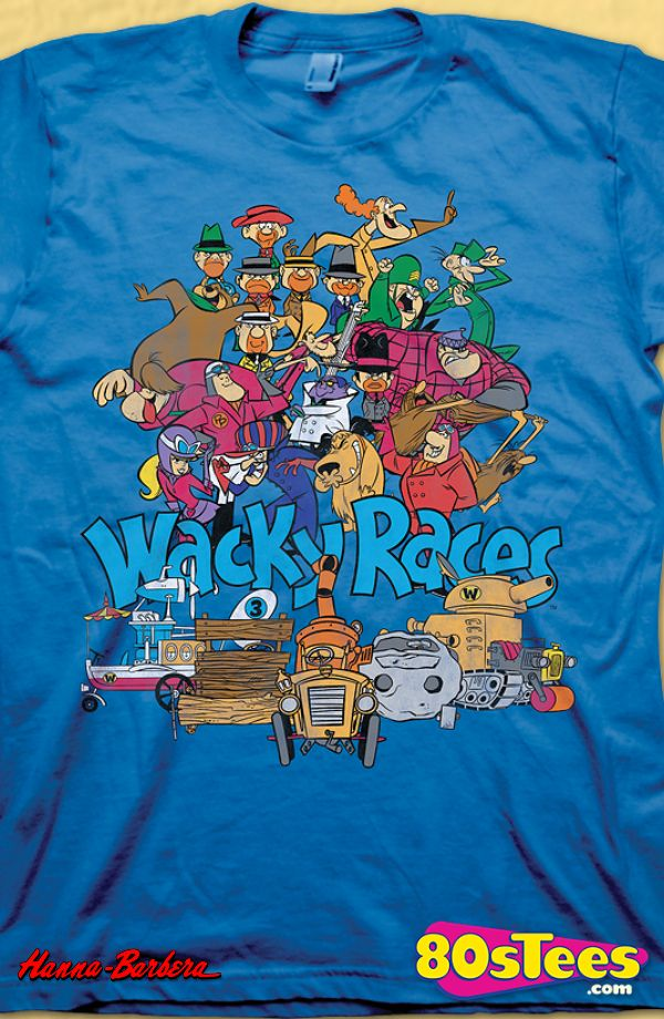 bf65d3f869 Wacky Races T-Shirt: Hanna Barbera Mens T-Shirt Wacky Racers Geeks: Enjoy  the comfort of home or travel the great outdoors in this men's style shirt  that ...