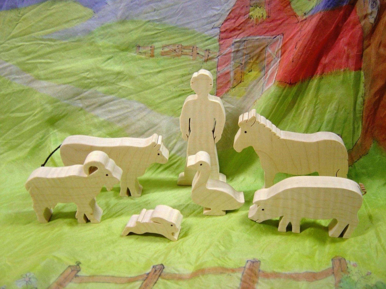 wooden barnyard animal set | kid stuff | farm yard, barnyard