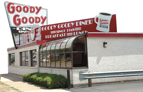 St. Louis, MO - Goody Goody Diner's building got its start as a walk-up A&W Root Beer stand. For a while, it was a drive-in, serving hot food to customers in hot rods. In the 1950s the diner concept took over. There is no question about what to order from the massive menu: Chicken & Waffles are the unquestioned favorite. An entire half of a fried chicken comes surrounded by Belgian waffles, crisped perfectly and wearing a thick coat of butter and syrup.