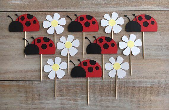 Ladybug Cupcake Toppers. Ladybug Birthday Party. | Etsy