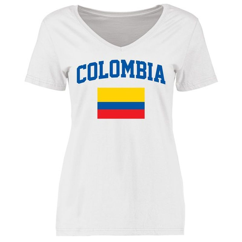 0e1bd89a520 Colombia Women s Flag Slim Fit T-Shirt - White