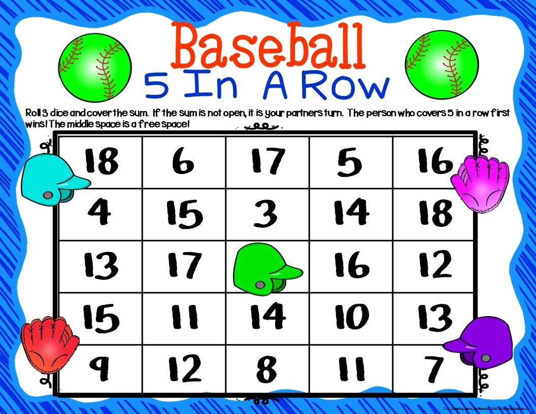 Baseball Math Center Dice Games With Images