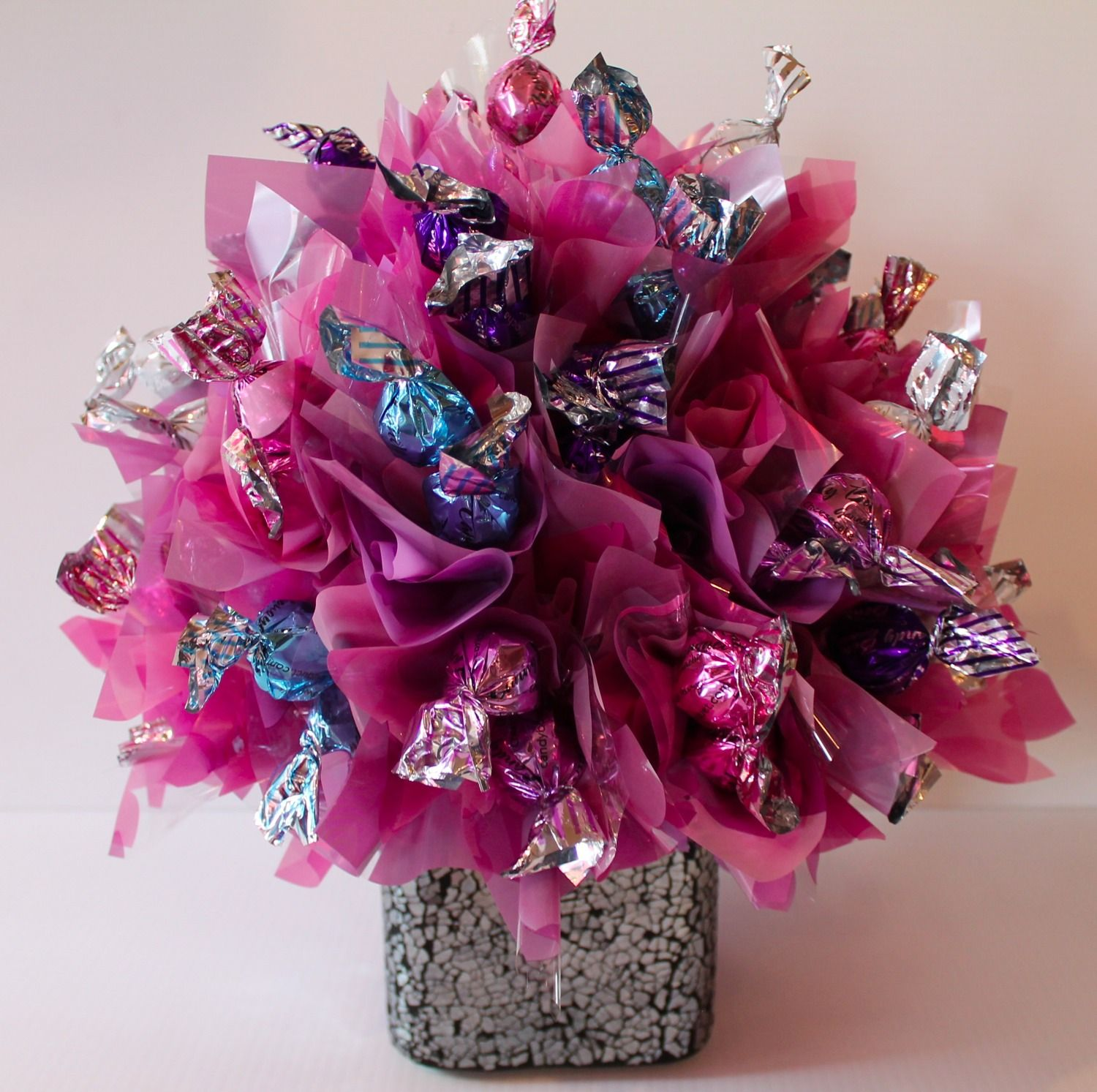 Chocolate bouquet on pinterest candy flowers bouquet of chocolate -  Charlotte Willner Piper Valentine Candy Bouquet We Could Use Tissue Paper Like This To Pink Chocolatechocolate