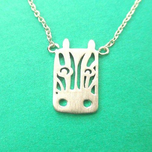Adorable Zebra Head Shaped Charm Necklace In Silver Animal Jewelry Jewelry Zebra Face