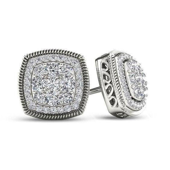 Zales Diamond Accent Rope Square Frame Cluster Stud Earrings in Sterling Silver UcdRF7uG6G
