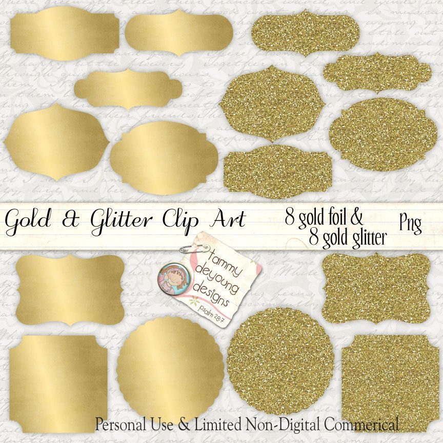 Digital Gold Foil Labels Gold Glitter Frames Clip Art and tags for ...