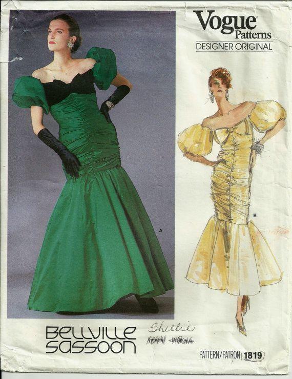 Vogue 1819 Bellville Sassoon Pattern Ruched Evening Gown Dress ...