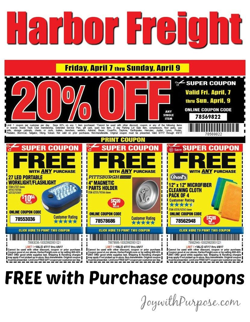 More Harbor Freight 2017 Coupons Good for April, May and