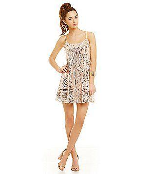 d43cebc305f Honey and Rosie Sequin Pattern Slip Dress