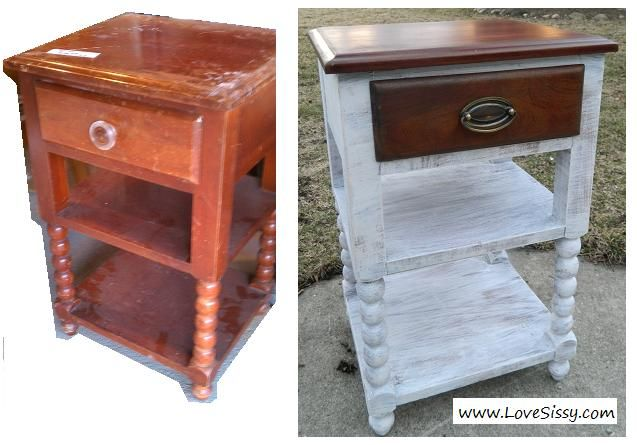 Two Tone Furniture, Paint & Wood. White On Wood. Wood Top