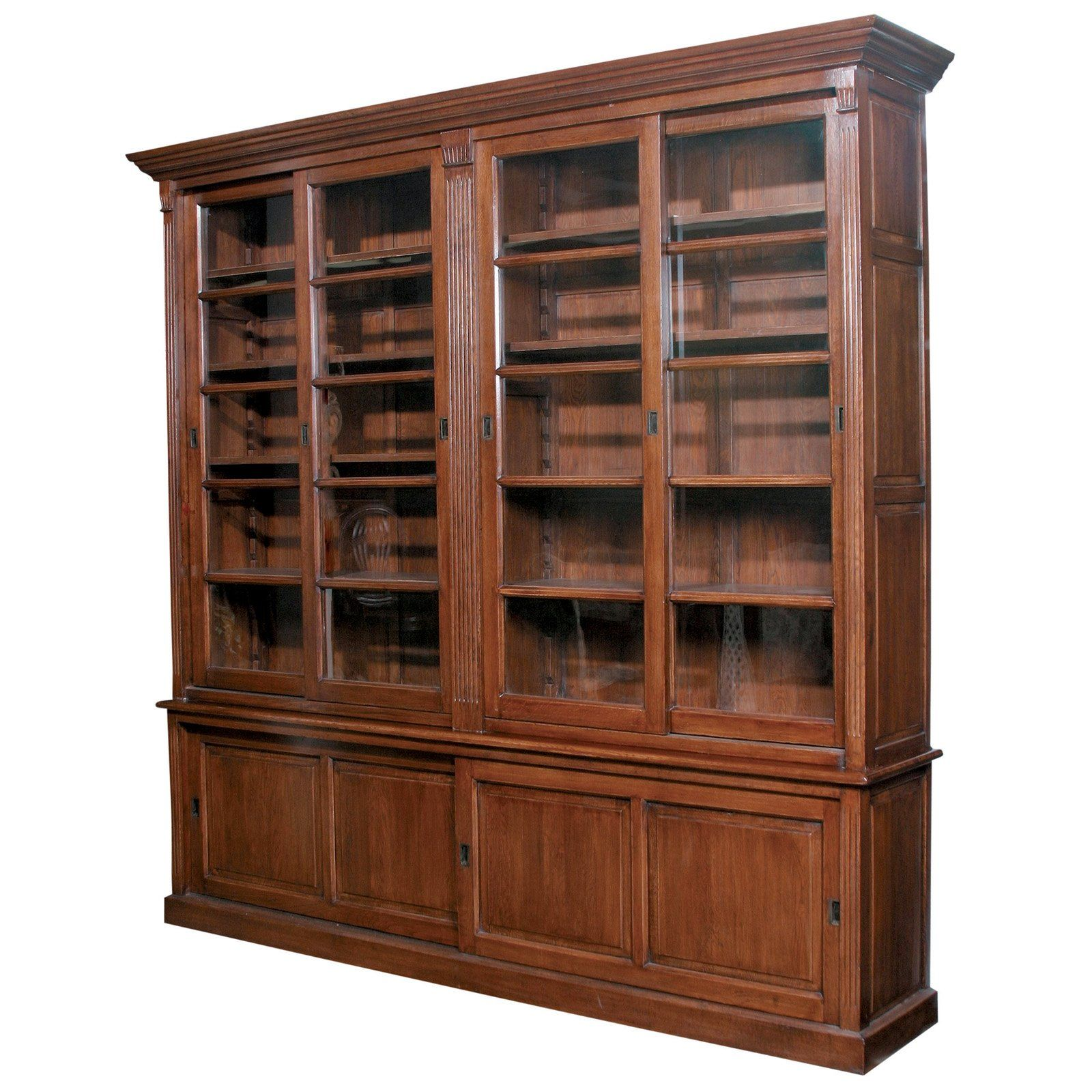 Furniture Classics Double Sliding Door European Solid Oak Bookcase