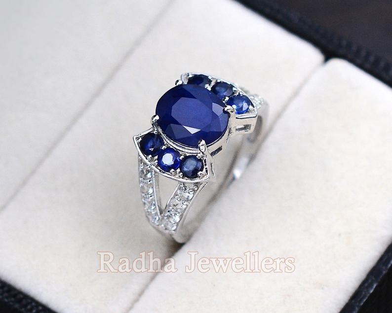 sterling silver promise ring September birthstone Sapphire engagement ring