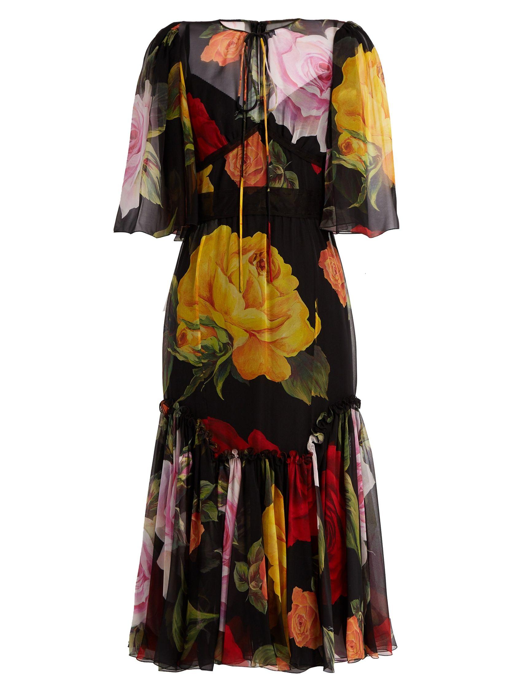 Dolce & Gabbana Woman Floral-print Silk-chiffon Midi Dress Black Size 36 Dolce & Gabbana 6t7MVYmc2U