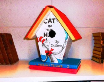 Dr Seuss The Cat In Hat Altered Book Birdhouse Bookshelf Library Decor Librarian Or Teacher Gift