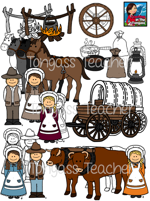 pioneer family clipart. pioneer oregon trail clipart bundle family
