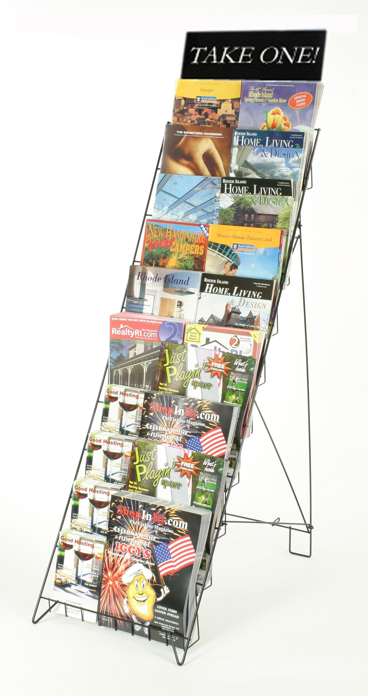 10-Tiered Wire Literature Stand for Floor, Open Shelves, with Header ...