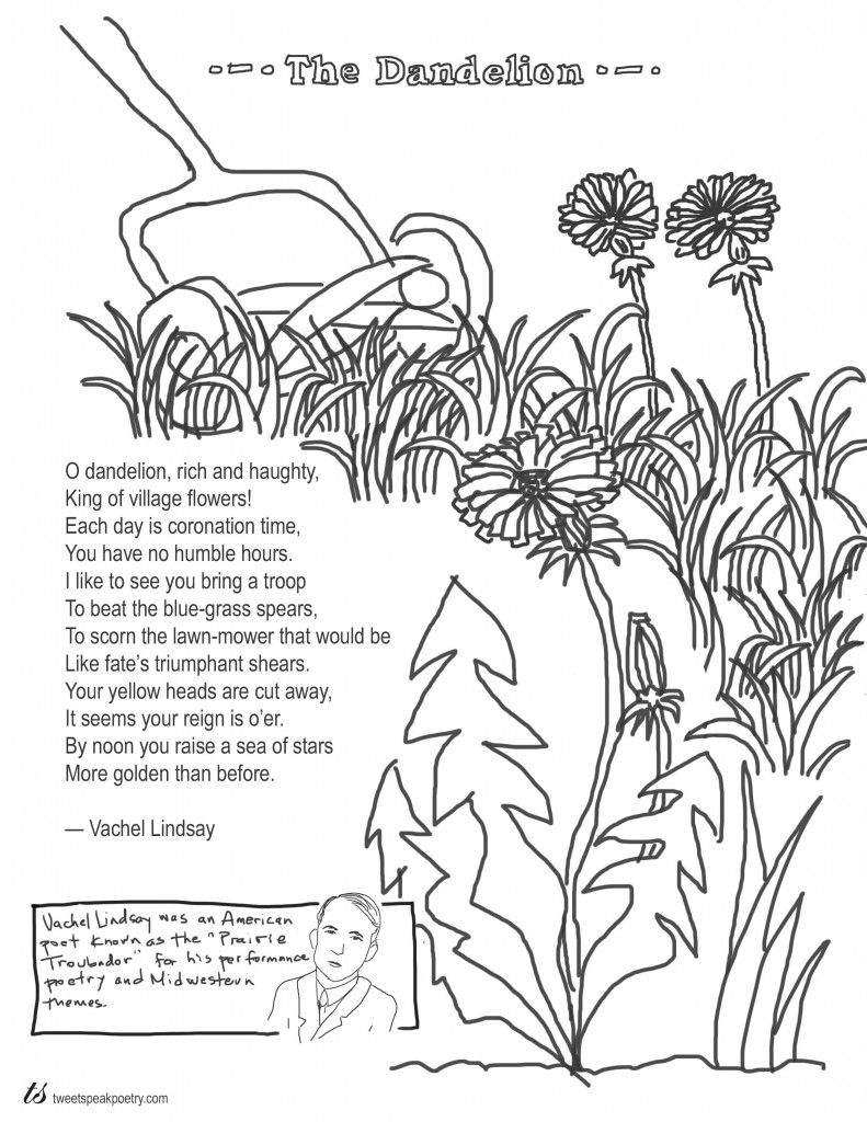 Coloring Page Poems The Dandelion By Vachel Lindsay