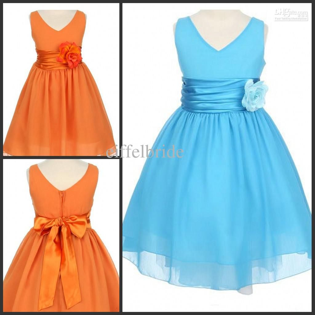 Empire Waist Flower Girl Dress Orange Chiffon A-Line Sash Flowers ...