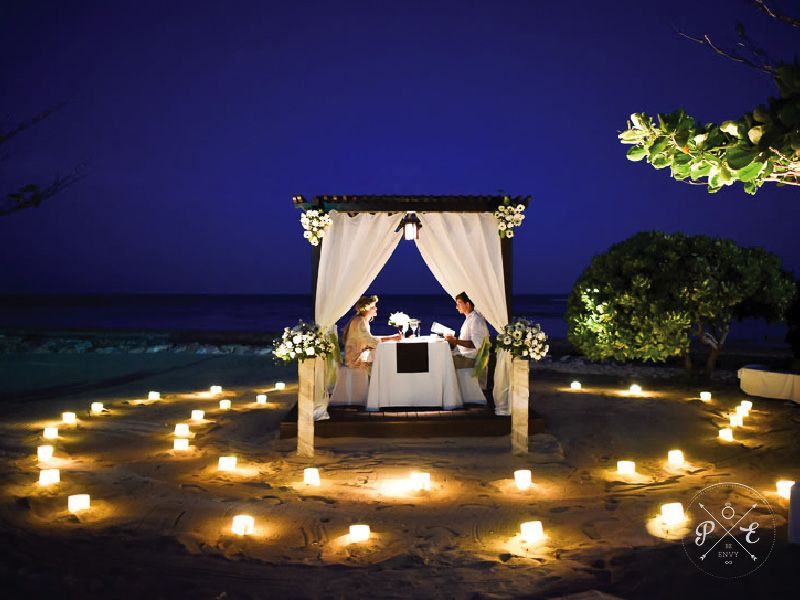Romantic Beach Dinner Celebration Arranged By Proposalenvy Candles