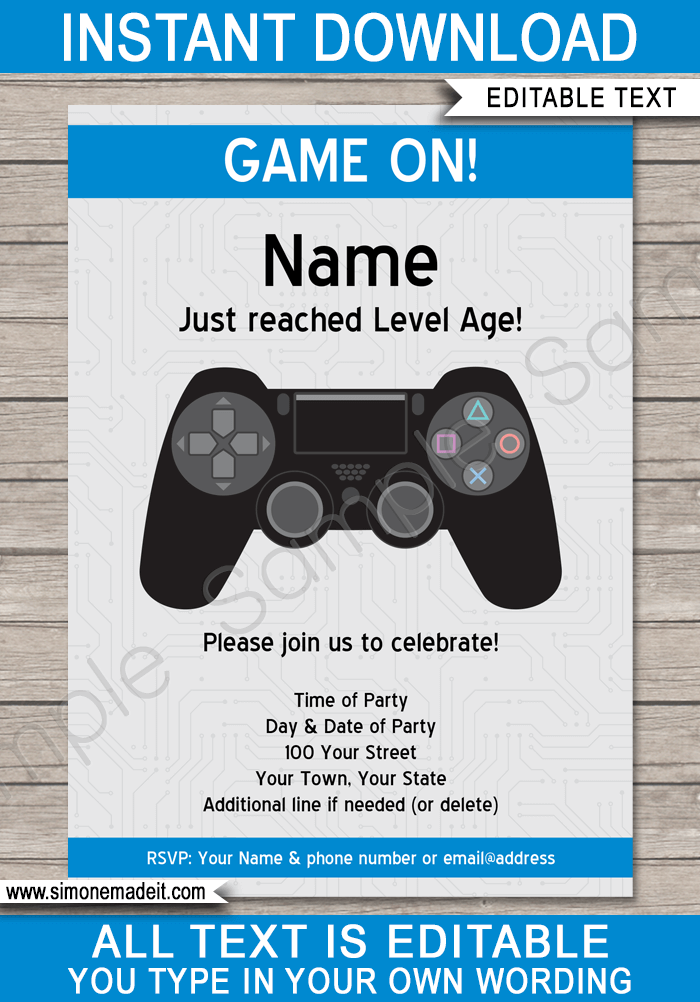 Playstation Birthday Party Invitations Template Blue Video Game Party Invitation Party Invite Template Playstation Party