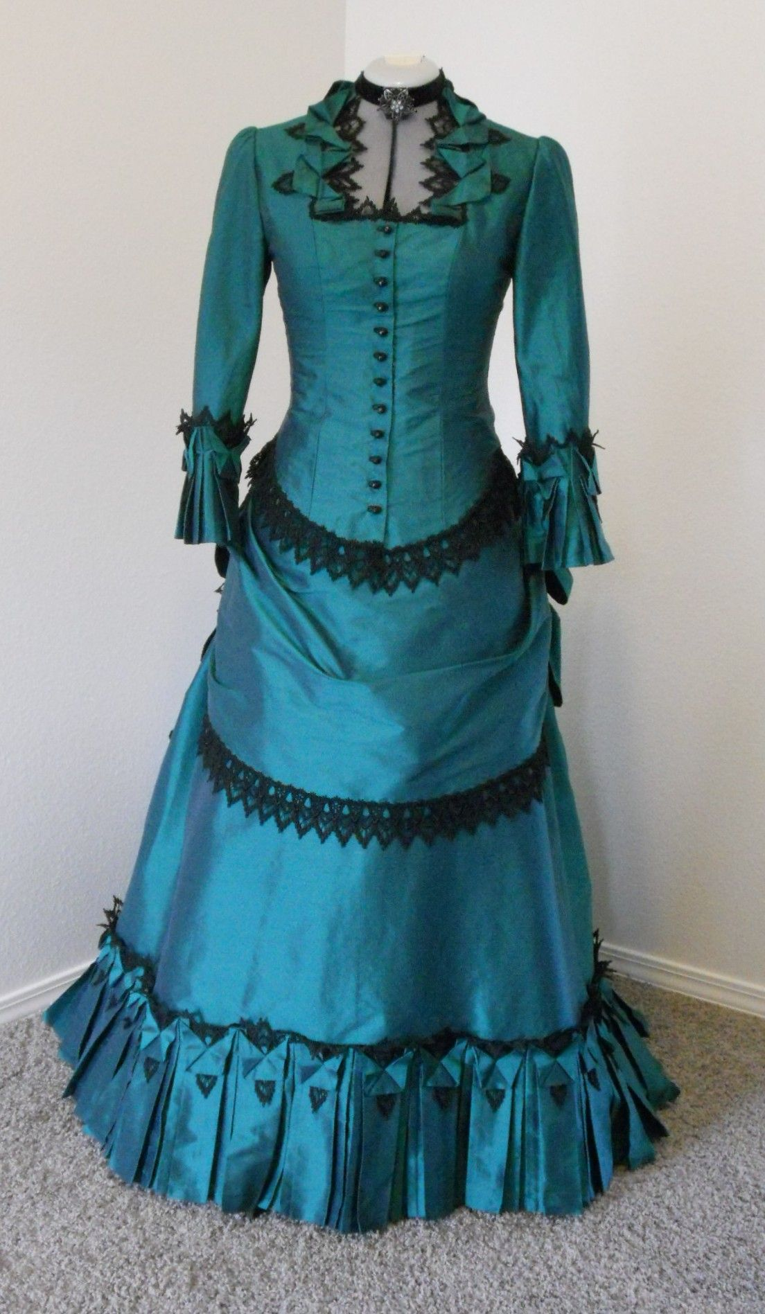 c6f23aa6b9 Love the lace on this 1880s Bustle Victorian style dress by Sally C  Designs. Also
