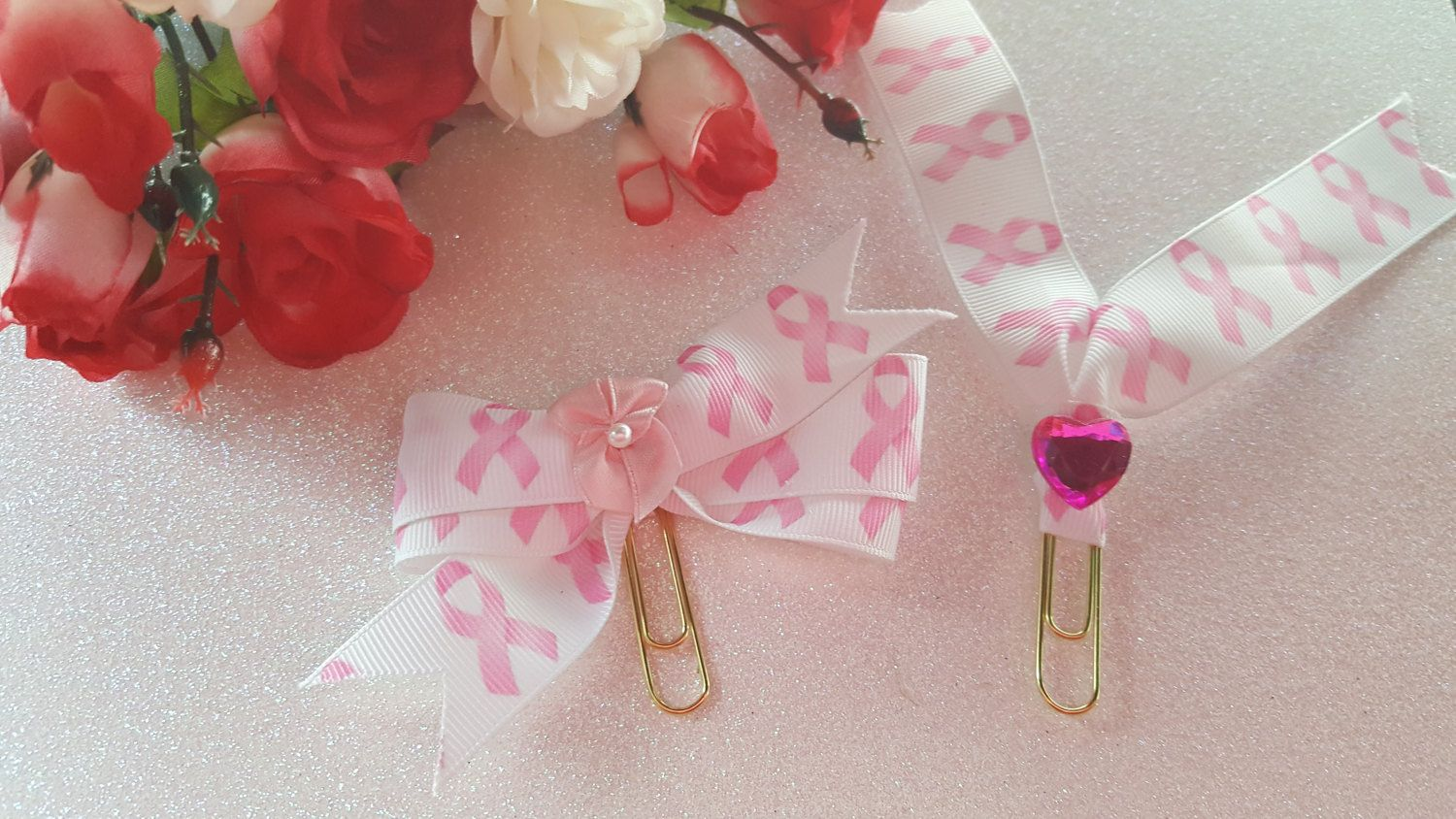Breast Cancer Awareness Planner Bow- Pink and White by DixiePlannerDesigns on Etsy