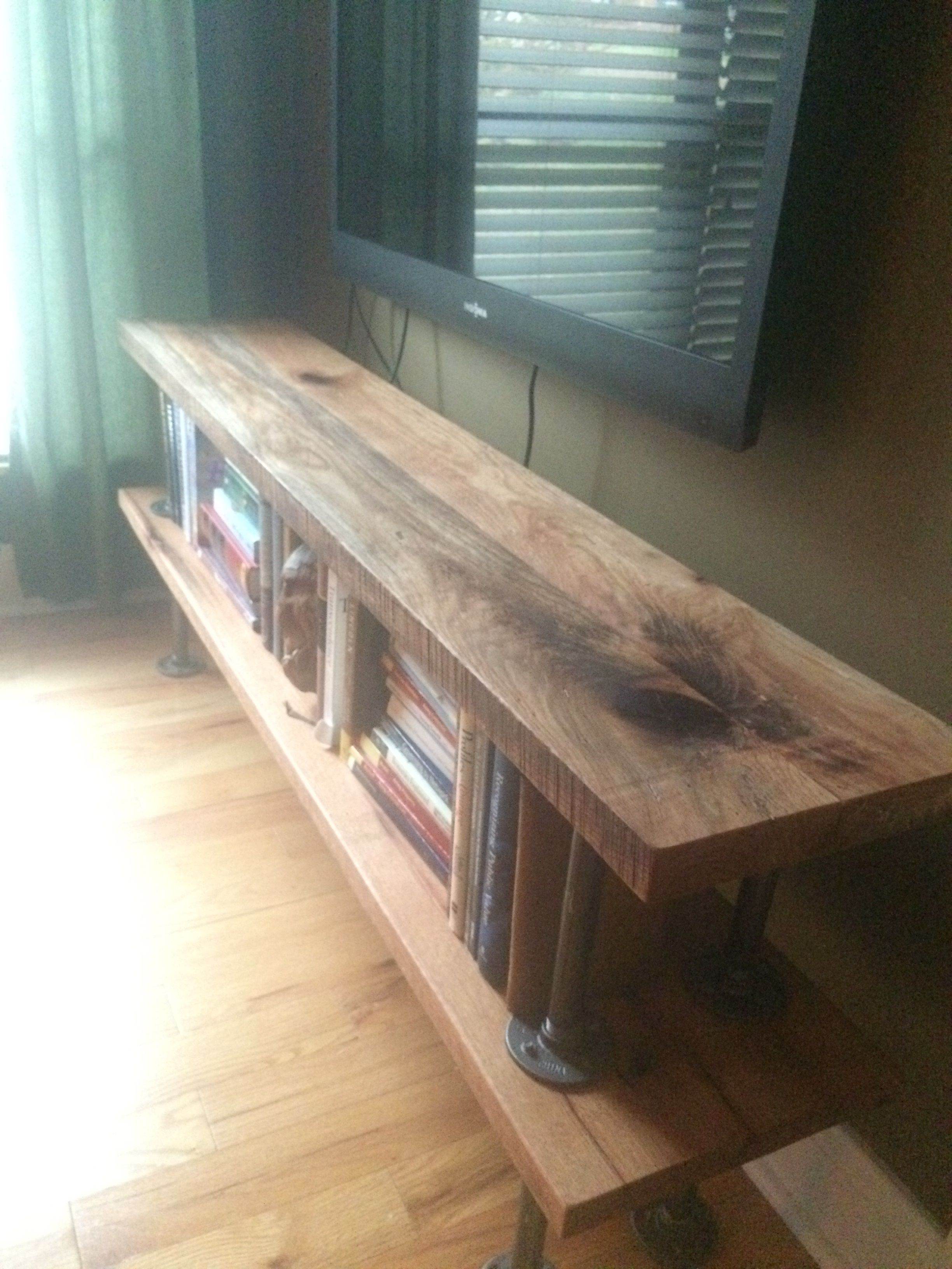 Used very ole barn wood and black pipes...planed down and