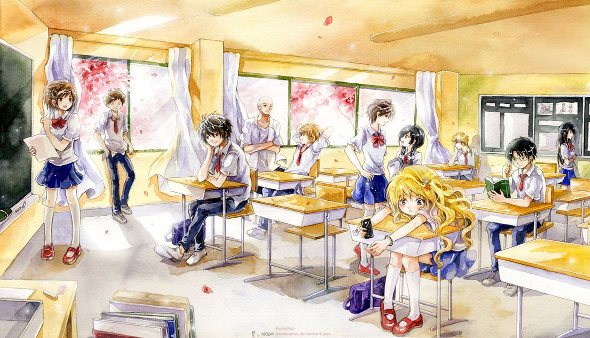 Classroom Breaktime By Kandasama On Deviantart Anime Art Painting