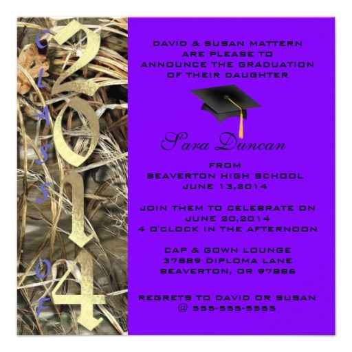 Camo Classic Elegant 2014 Graduation Invitation Camo
