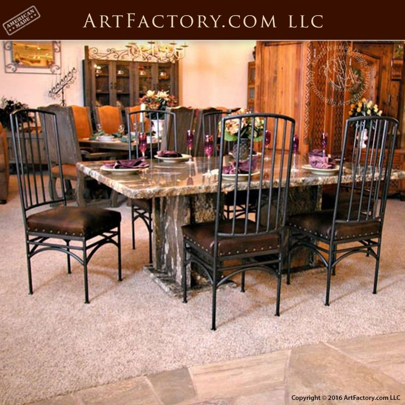 Solid Granite Dining Table With Blacksmith Hand Forged Iron Chairs Gdt125 Granite Dining Table Dining Room Table Marble Dining Table Marble