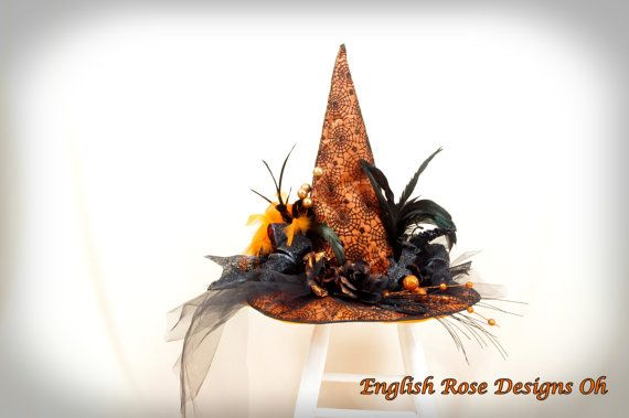 Black and Orange Witch Hat * Wicked Witch * Halloween Costume - witch decorations