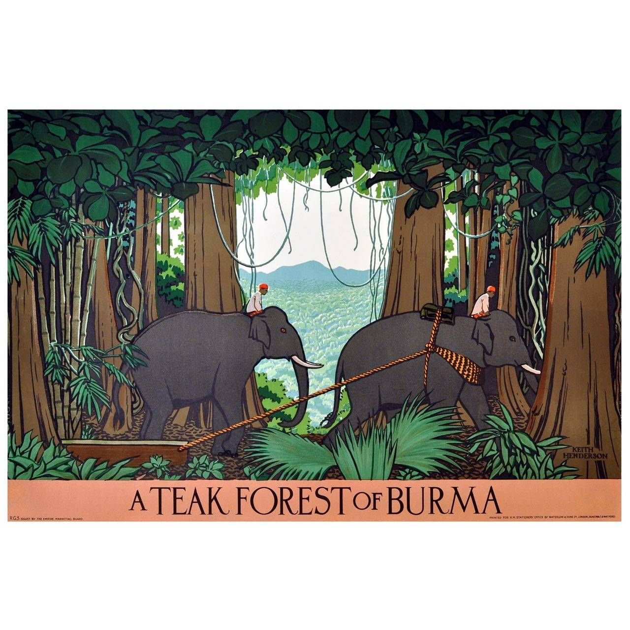 Original 1930s Empire Marketing Board Poster A Teak Forest Of