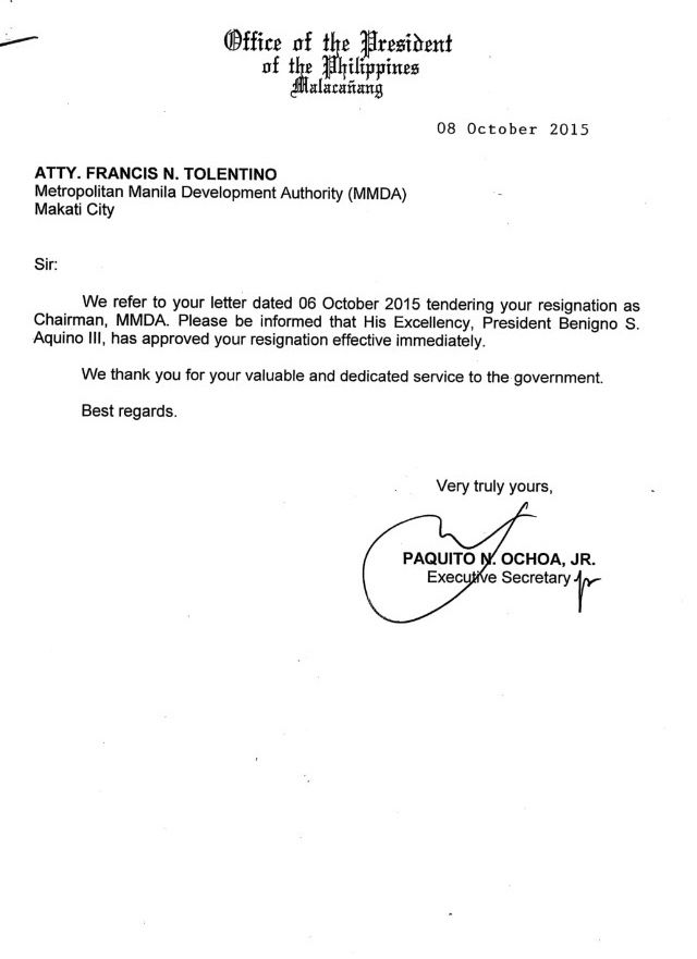 Aquino Accepts Resignation Of Tolentino HttpAmapnowCom Http