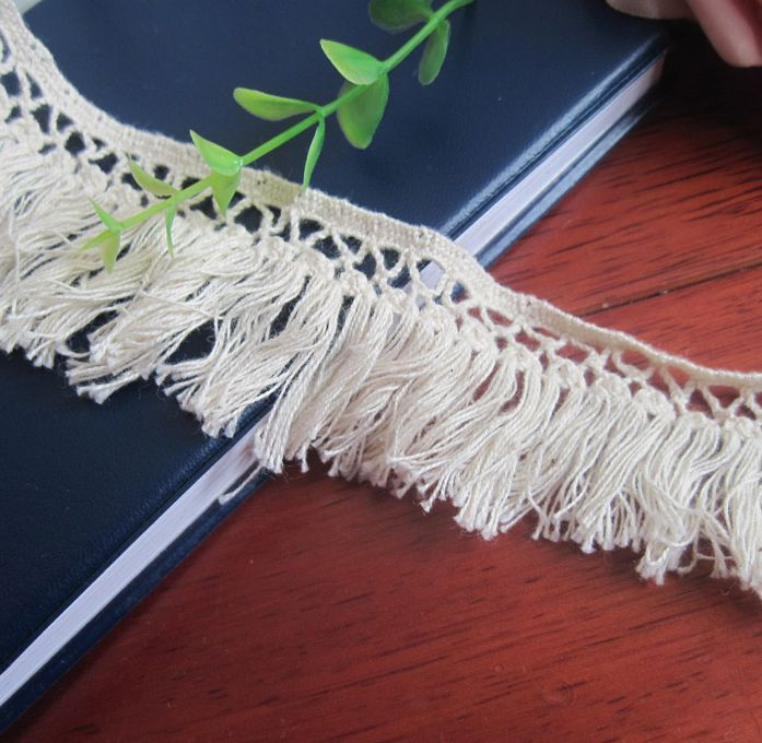 2016 wholesale cotton lace tassel lace trimming , garment fringe countryside style diy decoration material 4cm 16yards/lot W035